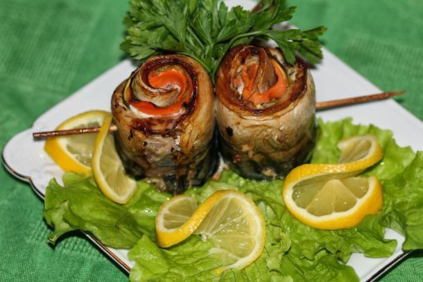 Рыбные рулеты-шашлычки из макрели