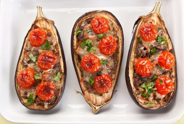 Мини баклажан запеченный с мясом по-кавказски